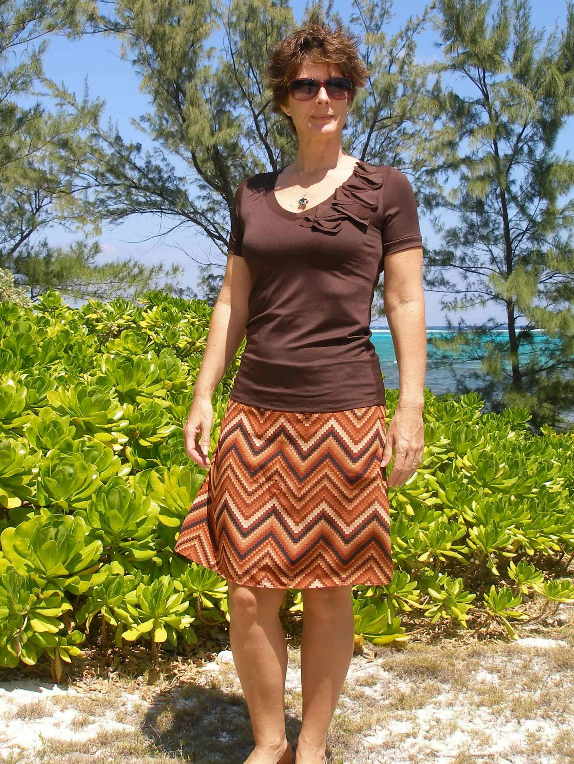 V-neck T-shirt and A-line Skirt