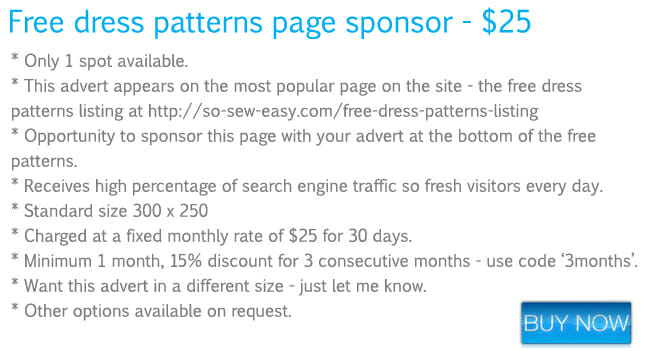 Dress patterns page - advertising rates