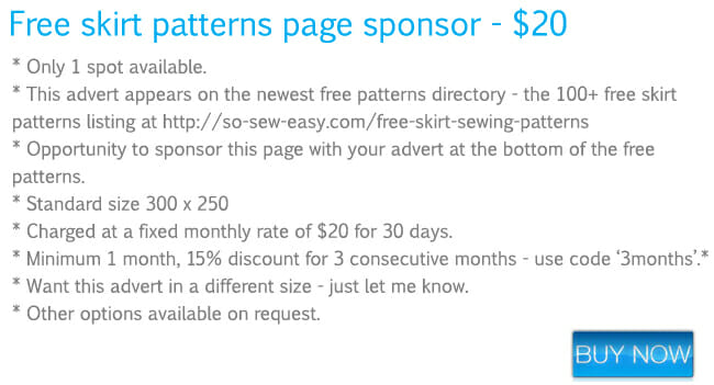 Skirt patterns page - advertising rates