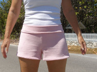 Sewing with Knits - bubblegum pink stretch velour yoga shorts from So Sew Easy.