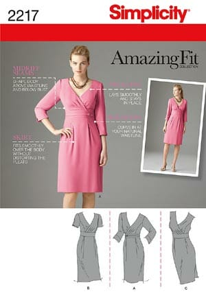Simplicity Amazing Fit dress 2217.  Pattern review from So Sew Easy.