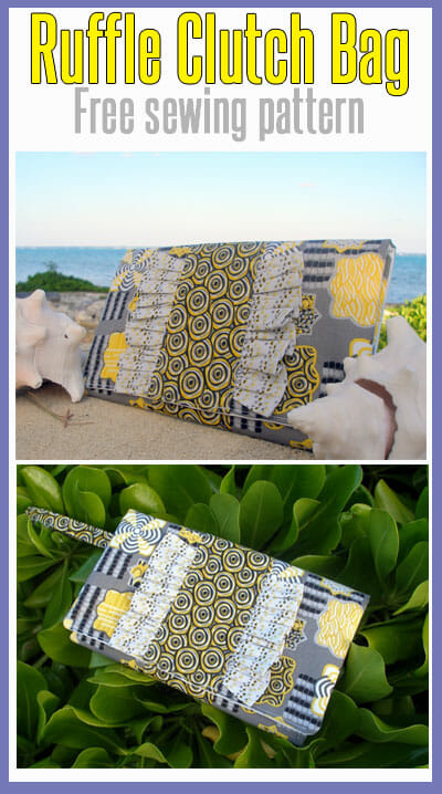 Free bag pattern, Ruffle Clutch Bag.  Easy beginners project - it's all rectangles!  Love this bag!  from So Sew Easy.