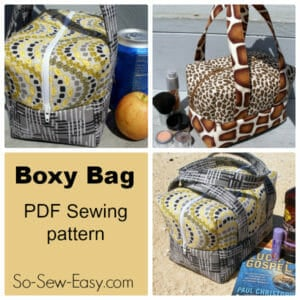 The Boxy Bag. Great for a lunch box, cosmetics or toiletries bag, mini holdall for the beach, traveling and more. Soft and padded but sturdy. From So Sew Easy.