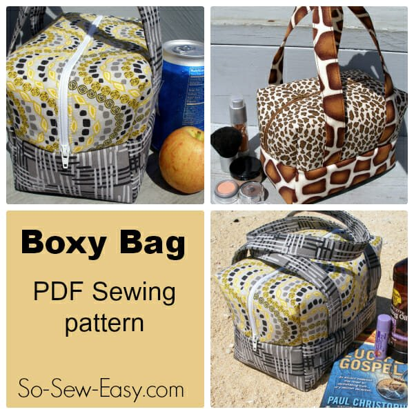 The Boxy Bag Pattern. Great for a lunch box, cosmetics or toiletries bag, mini holdall for the beach, traveling and more. Soft and padded but sturdy. From So Sew Easy.
