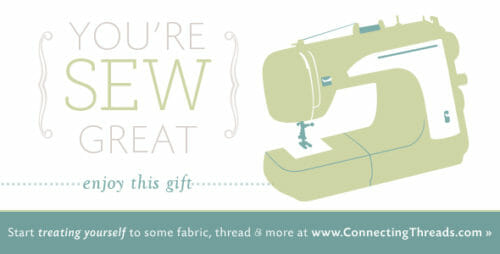 Win a $50 voucher for fabric from Connecting Threads at So Sew Easy.  Closes 25 Nov.