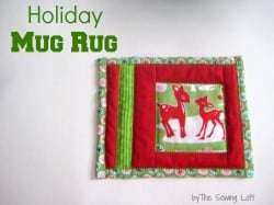 Make a holiday mug rug, beginners easy quilting project.