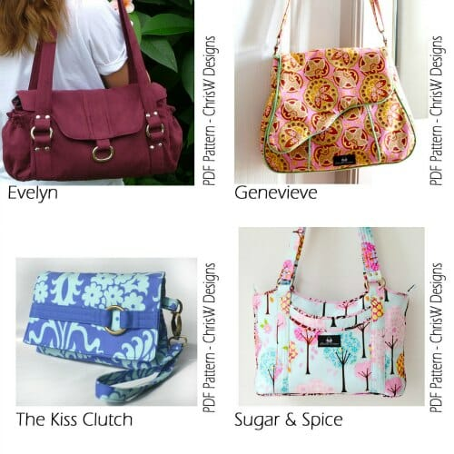 Win 4 free PDF sewing patterns - for 4 bags of your choice from ChrisW Designs.  Closes 20 Nov