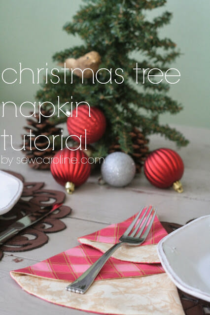 Sew these Christmas Tree Napkins for your family dinner, at So Sew Easy.