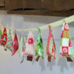 Sew this cute Christmas Tree garland to hang on your mantle, or even on the tree itself. Great use for scraps, and the kids could help make this.