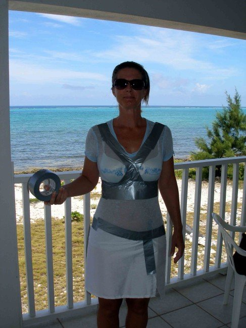 Duct tape dress form - give the upper body shape and definition. So Sew Easy