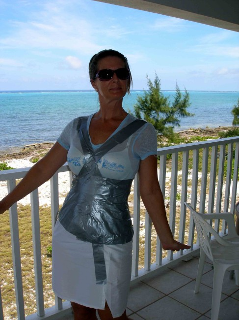 Duct tape dress form - place duct tape in long strips. So Sew Easy