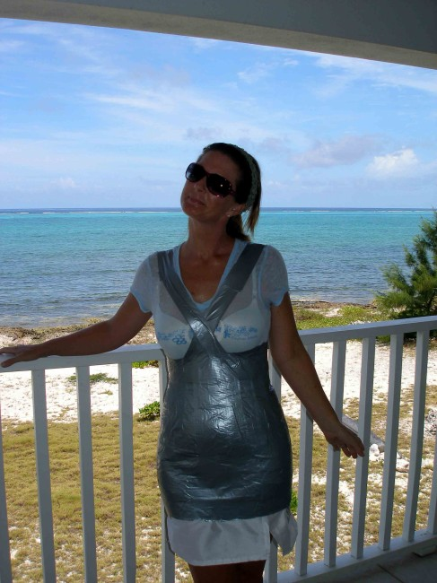 Duct tape dress form - continue adding tape past the widest part of the body. So Sew Easy