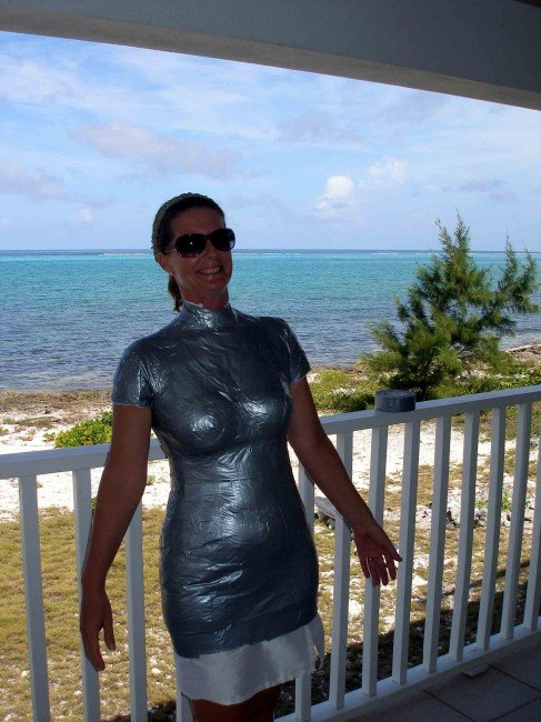 Duct tape dress form - starting to feel rather hot now. So Sew Easy