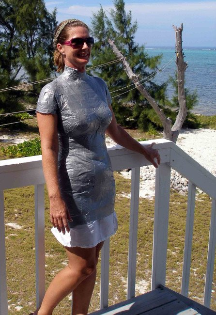 Duct tape dress form - its getting pretty hot in here!  So Sew Easy