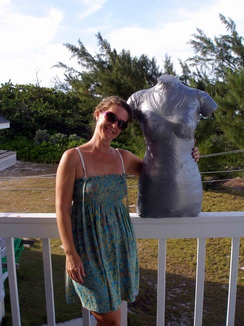 How to make a duct tape dress form - a perfect replica of you body shape.  So Sew Easy