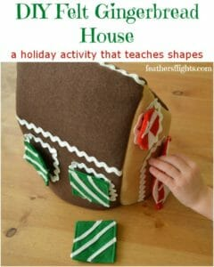 Make this cute felt gingerbread house with removable felt candy shapes.