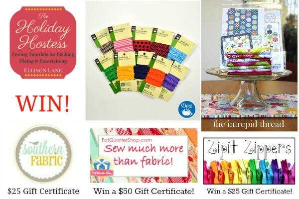 Fabulous sewing giveaway as part of the Holiday Hostess series. 10 awesome prizes - closes 23 Nov.