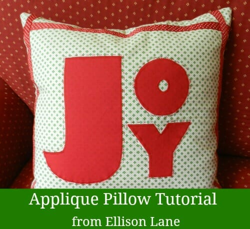 Sew this Joy Christmas pillow at So Sew Easy.