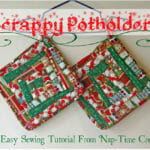Scrappy potholders tutorial. These use scraps of Christmas fabric, but you could use any small pieces for these pretty but practical potholders.