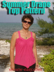 Summer Drape Top. Free sewing pattern and step by step photo tutorial from So Sew Easy.