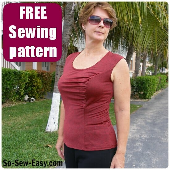 Free sewing pattern. Gathered front top pattern with princess seams front and back and gathering on one side.