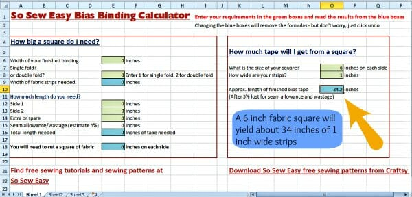 Continuous Bias Binding Calculator So Sew Easy