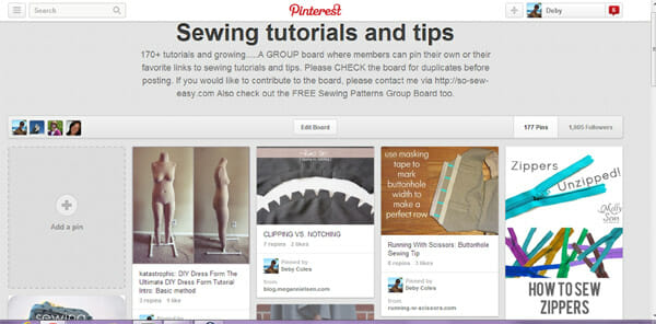 Sewing Tutorials - Pinterest Group Board from So Sew Easy