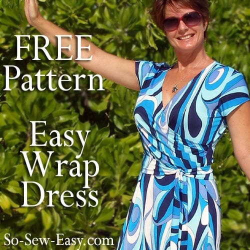 Wrap dress pattern - free sewing pattern - So Sew Easy