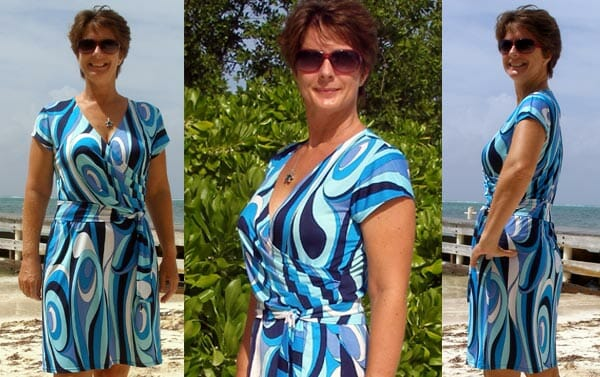 Wrap dress pattern - free sewing pattern. Easy to sew and great looking wrap dress - everyone should have at least one of these. From So Sew Easy.