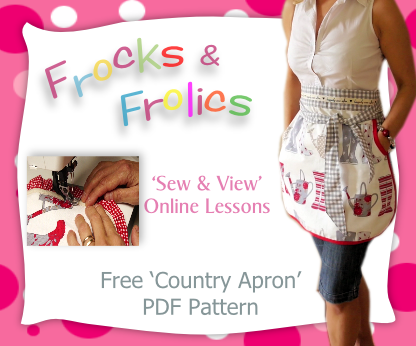 Free Country Apron Sewing Pattern for So Sew Easy readers, from Frocks and Frolics