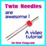 How to use twin needles for hemming on knit fabrics. Also great for decorative stitches - a video tutorial.