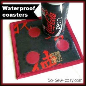 Sew waterproof coasters, made using iron on vinyl.