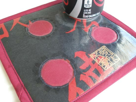 Sew waterproof coasters, made using iron on vinyl.