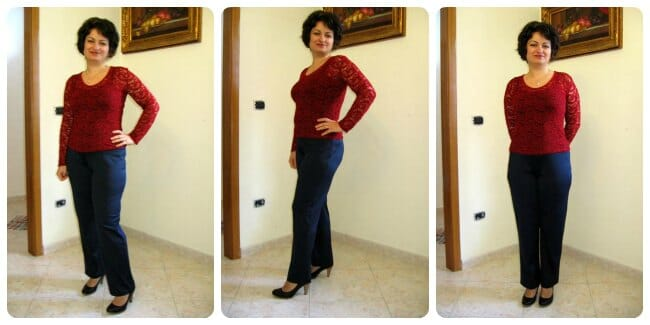 Classic straight leg knit pants sewing pattern and video tutorial. Video shows you how to fit too!