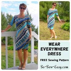 Wear Everywhere, easy knit dress pattern. Free pattern.