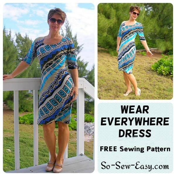 Free easy dress pattern. I could have a whole wardrobe full of these easy to sew, easy to wear dresses.