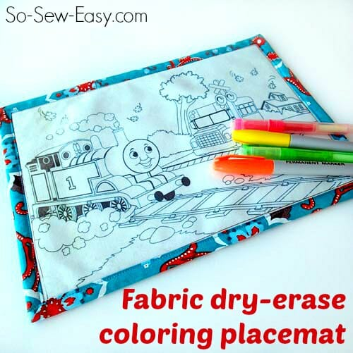 Make a wipe clean dry erase coloring placemat for toddlers using Iron on Vinyl.
