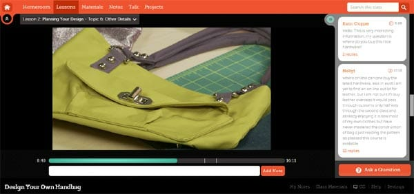 Review of the Craftsy Design your own Handbag class with special discount on the class.