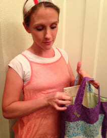Sewing for Charity - sew hand-made tote bags for breast cancer patients.