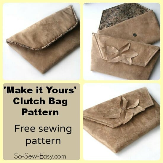 'Make it Yours' clutch bag pattern.  Free pattern with ideas for how to customise the bag to make it yours.