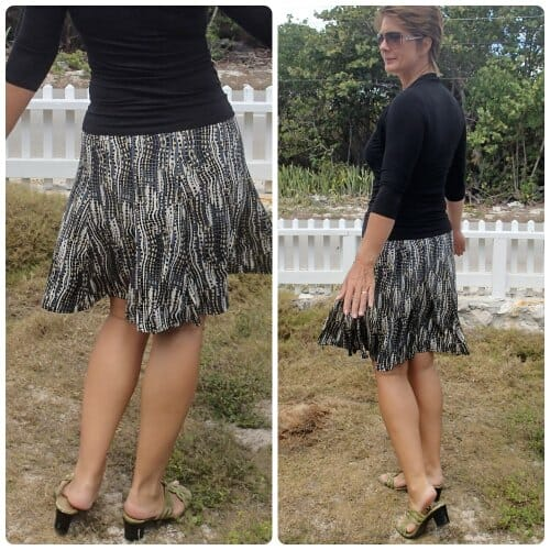The Flirty Skirty pattern.  10 gored skirt, fitted in waist and hips and flaring at hemline.  I'm in love!