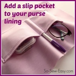 Sew the perfect slip pocket into your purse or bag pattern