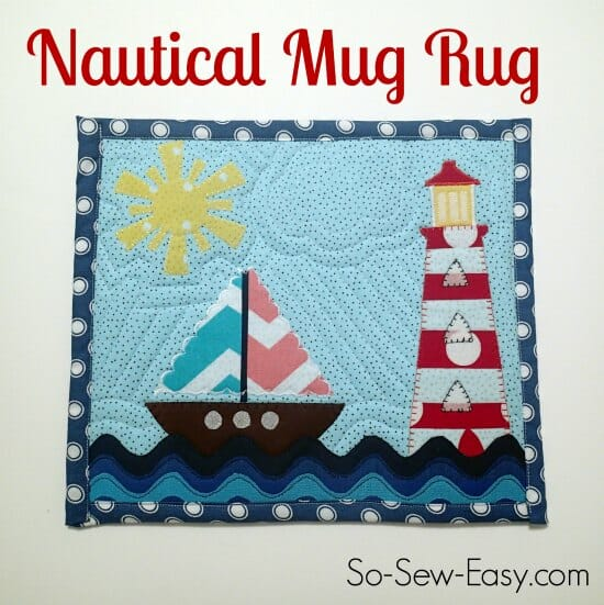"""Nautical Mug Rug Tutorial"" Free Pattern designed by Deby from So-Sew-Easy"