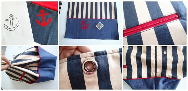 Great free pattern for an expanding nautical tote bag.  Would look great in any fabric, and so many options!