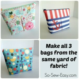 Ingenious idea to make and line 3 cosmetics bags all from the same 1 yard of fabric. Can buy this on Spoonflower.