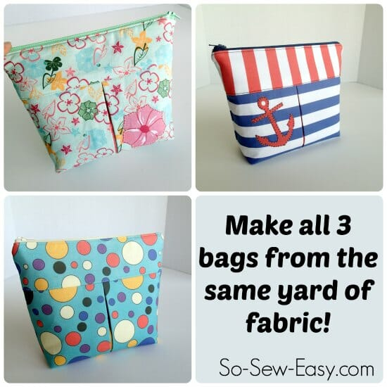 Pleated Cosmetics Bag Pattern with Spoonflower fabric