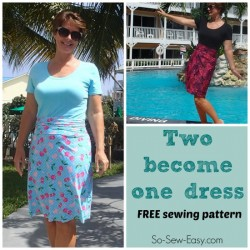 Free dress pattern. I love how this dress can be made to look like a t-shirt and skirt with belt, or how you can make it to look like a regular dress.
