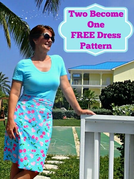 Free dress pattern.  Can be made to look like separates with different fabrics in the top and skirt, or like a traditional dress with the same fabric throughout.  Built in stretch belt.