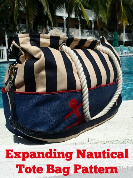 I want one! Expanding Nautical Tote Bag Pattern from So Sew Easy