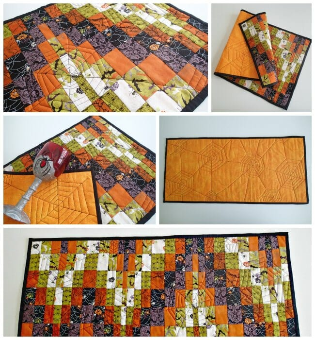 bargello style quilted halloween table runner great idea to try out bargello patterns